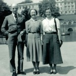 Barbara at Nottingham University in 1951 with her parents, Val and Mabs